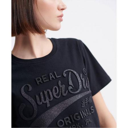 Dámské tričko - Superdry RO GLITTER EMBOSS ENTRY TEE - 4