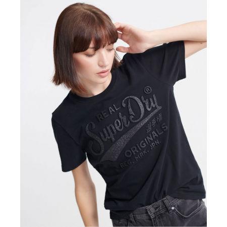 Dámské tričko - Superdry RO GLITTER EMBOSS ENTRY TEE - 2
