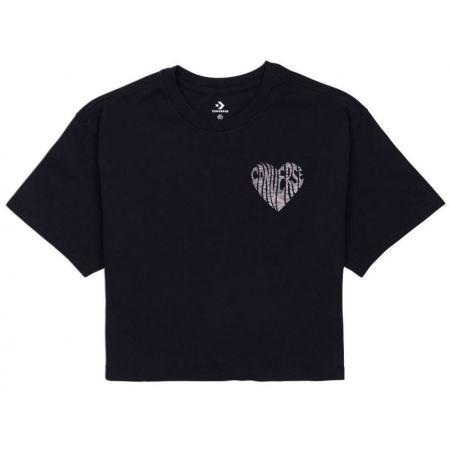 Dámské crop tričko - Converse WOMENS  LEFT CHEST HEART CROPPED TEE