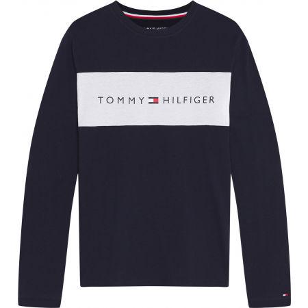 Pánské tričko s dlouhým rukávem - Tommy Hilfiger CN LS TEE LOGO FLAG