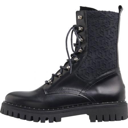 Dámské kožené boty - Tommy Hilfiger MATERIAL MIX TH BOOTIE