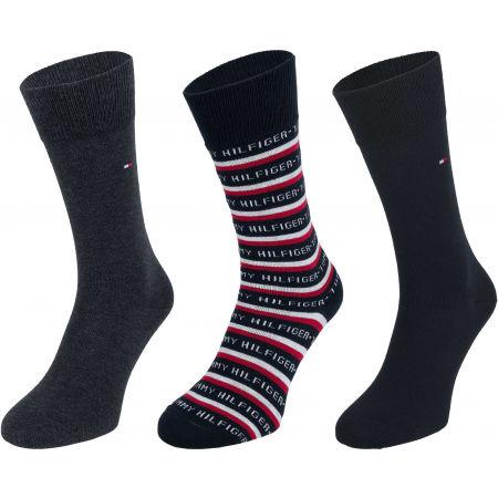 Tommy Hilfiger SOCK 3P LOGO GIFTBOX - Pánské vysoké ponožky