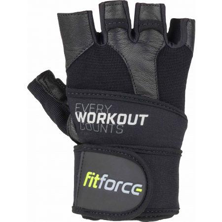 Fitforce LINEAR - Kožené fitness rukavice