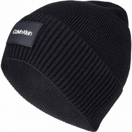 Calvin Klein RTW PATCH RIB BEANIE - Pánská zimní čepice