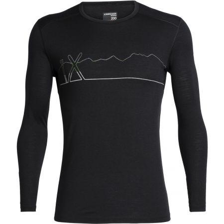 Funkční triko z merina - Icebreaker OASIS LS CREWE SINGLE LINE SKI - 1