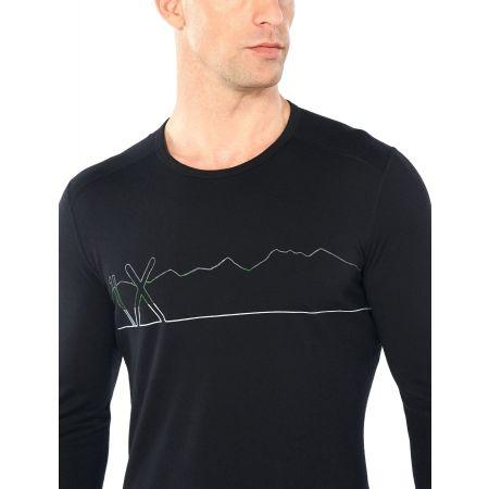 Funkční triko z merina - Icebreaker OASIS LS CREWE SINGLE LINE SKI - 5