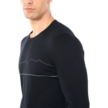 Funkční triko z merina - Icebreaker OASIS LS CREWE SINGLE LINE SKI - 6