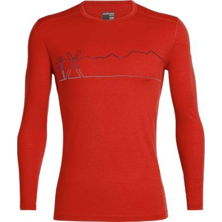 Funkční triko z merina - Icebreaker OASIS LS CREWE SINGLE LINE SKI